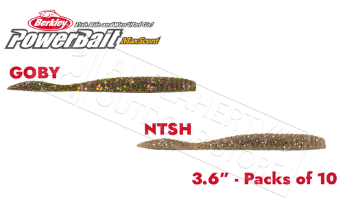 "Berkley PowerBait MaxScent Flat Worm, Various Patterns, 3.6"" Pack of 10 #PBMSFW4"