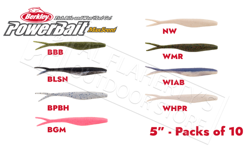 "Berkley PowerBait MaxScent Flatnose Jerk Shad, Various Patterns, 5"" Pack of 10 #PBMSFJ5"