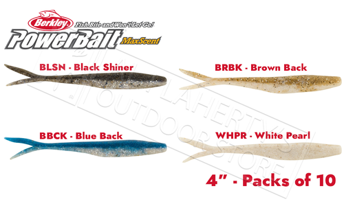 "Berkley PowerBait MaxScent Flatnose Minnows, 4"" Various Patterns Packs of 10 #PBMSFM4"