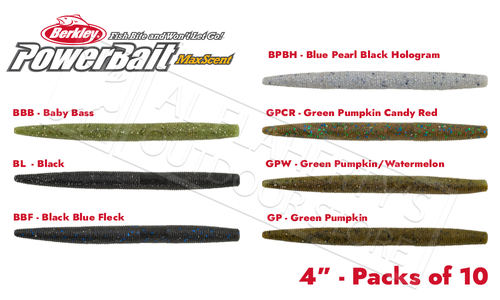 "Berkley PowerBait MaxScent The General, 4"" Various Patterns Packs of 10 #PBMSTG4"