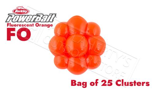 Berkley PowerBait Trout/Steelhead Egg Clusters, Fluorescent Orange Bags of 25 #PBBEC-FO