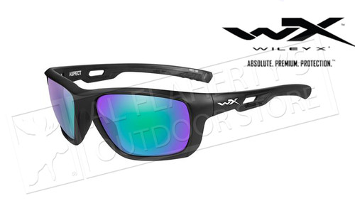 Wiley X Aspect Polarized Emerald Mirror (Amber) Matte Black Frame