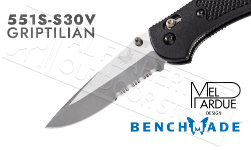 Benchmade 551S Griptilian AXIS Folder with Serrated Edge by Pardue #551S-S30V