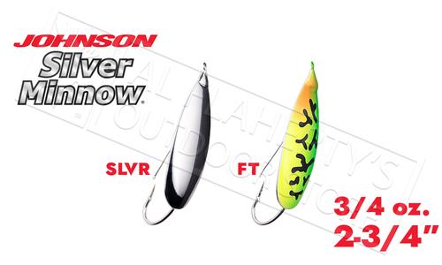 """Johnson Silver Minnow Weedless Spoon, 2-3/4"""" 3/4 oz. #SM3/4"""