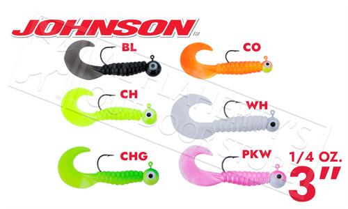 """Johnson Swimming Grubs, 3"""" 1/4 oz., Packs of 5 #SG3C1/4"""