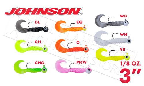 """Johnson Swimming Grubs, 3"""" 1/8 oz., Packs of 5 #SG3C1/8"""