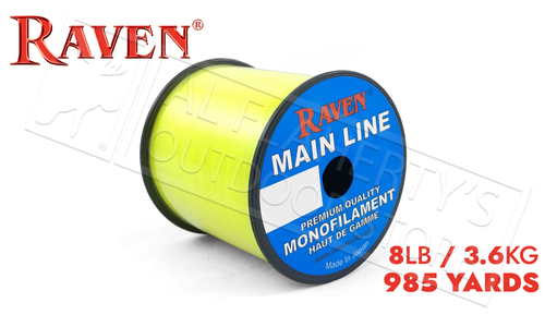 Raven Main Line Monofilament, Yellow 8lb 985 Yards #RVML08-Y