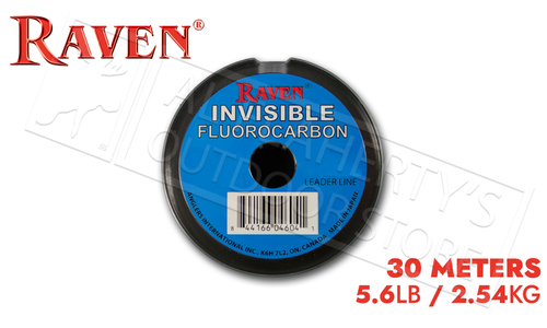 Raven Invisible Fluorocarbon Leader Spool, 5.6 lb 30 Meters #RVFC56