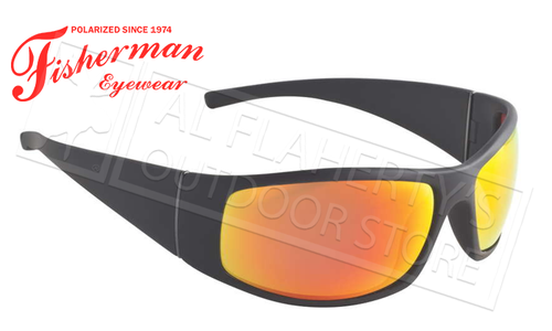 Fisherman Eyewear Bluefin Polarized Glasses, Matte Black Frame with Red Mirror Lens #96100709