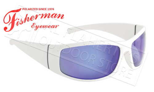Fisherman Eyewear Bluefin Polarized Sunglasses, White with Blue Mirror Lens #96100710