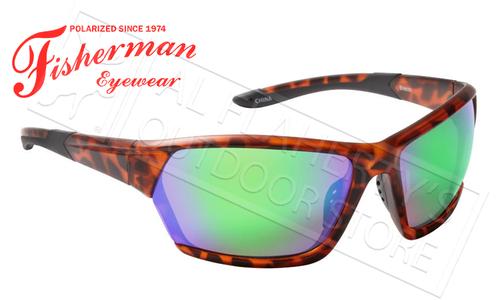 Fisherman Eyewear Breeze Polarized Sunglasses, Tortoise with Green Mirror Lens #50523262