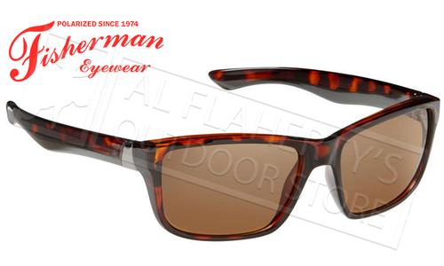 Fisherman Eyewear Cabana Polarized Glasses, Crystal Brown Tortoise Frame with Brown Lens #50330202
