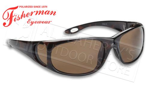 Fisherman Eyewear Grander Polarized Glasses for Fishing, Brown Tortoise and Brown Lens #90623