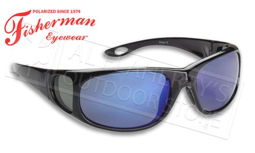 Fisherman Eyewear Grander Polarized Glasses for Fishing, Shiny Black with Blue Mirror Lens #90982