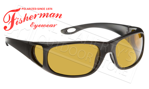 Fisherman Eyewear Grander Polarized Sunglasses, Black with Amber Lens #50270004