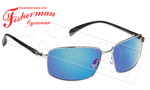 Fisherman Eyewear Harbor Polarized Glasses, Shiny Gunmetal Frame with Blue Mirror Lens #50262331