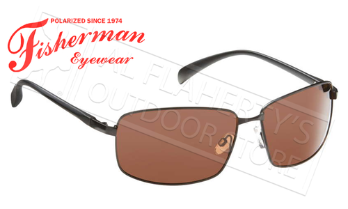 Fisherman Eyewear Harbor Polarized Sunglasses, Black with Copper Lens #50260003