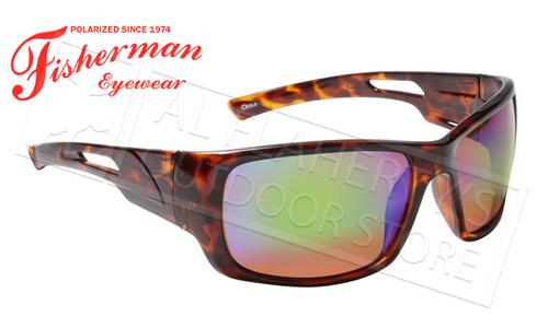 Fisherman Eyewear Hazard Polarized Glasses, Shiny Brown Tortoise Frame with Green Mirror Lens #50460262