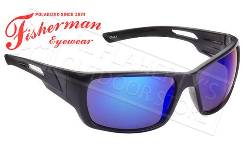 Fisherman Eyewear Hazard Polarized Sunglasses, Black with Blue Mirror Lens #50460031