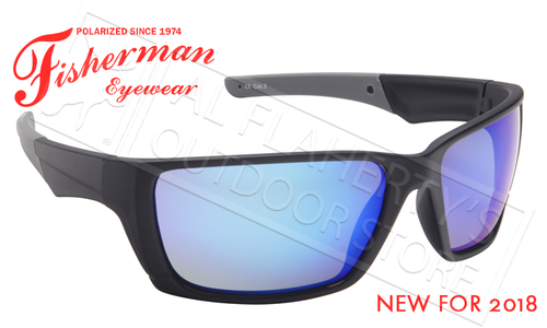Fisherman Eyewear Hook Polarized Glasses, Matte Black Frame with Blue Mirror Lens #50603031