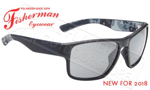Fisherman Eyewear Maverick Polarized Glasses, Black and Navy Camo Frames with Gray Lens #50633001