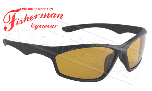 Fisherman Eyewear Polarsensor Delta Polarized Sunglasses, Black with Amber Lens #96100736