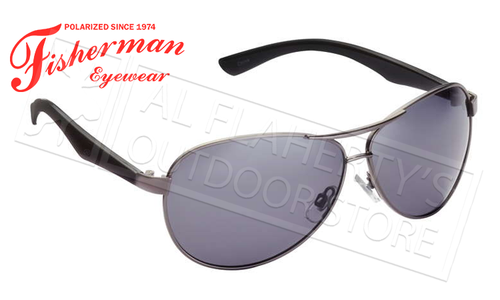 Fisherman Eyewear Siesta Polarized Glasses, Shiny Gunmetal Frame with Gray Lens #50432301