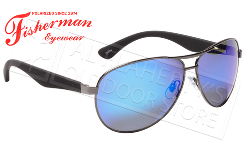 Fisherman Eyewear Siesta Polarized Glasses, Shiny Gunmetal Frame with Blue Mirror Lens #50432331