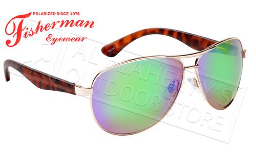Fisherman Eyewear Siesta Polarized Glasses, Shiny Gold Frame with Green Mirror Lens #50432262