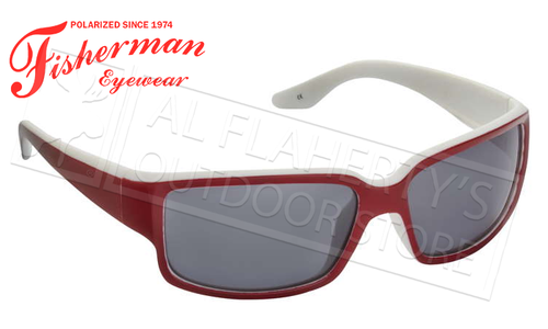 Fisherman Eyewear Upstream Polarized Glasses, Red and White with Grey Lens #50443901