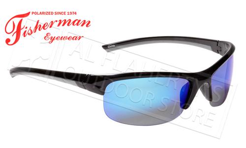 Fisherman Eyewear Tern Polarized Glasses, Shiny Black Frame with Blue Mirror Lens #50593031