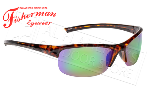 Fisherman Eyewear Tern Polarized Glasses, Shiny Tortoise Frame with Green Mirror Lens #50590262
