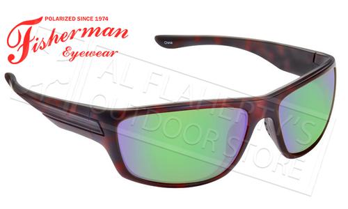 Fisherman Eyewear Striper Polarized Glasses, Shiny Brown Tortoise Frame with Green Mirror Lens #50420262