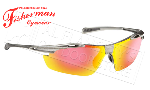 Fisherman Eyewear Ray Polarized Glasses, Matte Gunmetal Frame with Red Mirror Lens #50252321