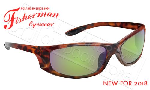 Fisherman Eyewear Riptide Polarized Glasses, Crystal Tortoise Frames with Green Mirror Lens #50610262
