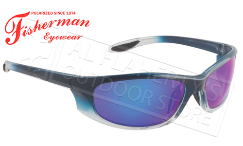 Fisherman Eyewear Riptide Polarized Glasses, Crystal Blue Fade Frame with Blue Mirror Lens #96100714