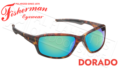 Fisherman Eyewear Dorado Polarized Sunglasses, Matte Brown Tortoise Frame with Green Mirror Lens #50290262