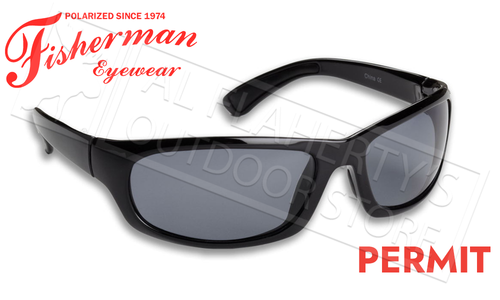 Fisherman Eyewear Permit Polarized Sunglasses, Shiny Black Frame with Gray Lens #90617