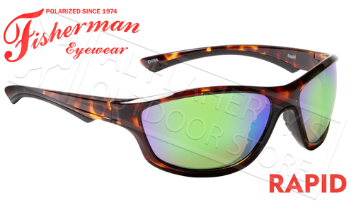 Fisherman Eyewear Rapid Polarized Sunglasses, Shiny Crystal Tortoise Frame with Green Mirror Lens #50580262