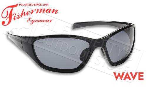 Fisherman Eyewear Wave Polarized Sunglasses, Shiny Black Frame with Gray Lens #50050001