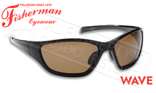 Fisherman Eyewear Wave Polarized Sunglasses, Shiny Black Frame with Brown Lens #50050002