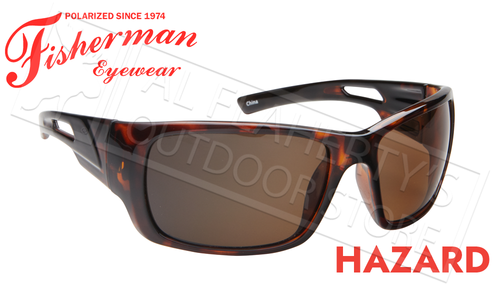 Fisherman Eyewear Hazard Polarized Sunglasses, Shiny Tortoise Frame with Brown Lens #50460202