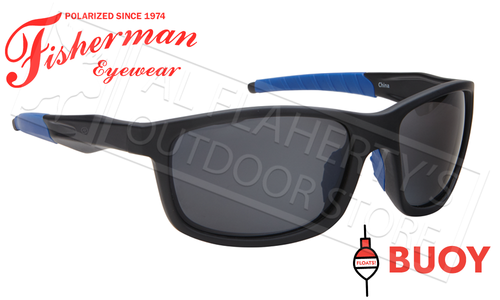 Fisherman Eyewear Buoy Polarized Sunglasses - Floating, Matte Black and Royal Blue Frame with Silver Flash Mirror Lens #50643041