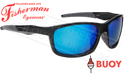 Fisherman Eyewear Buoy Polarized Sunglasses - Floating, Shiny Black Frame with Blue Mirror Lens #50640031