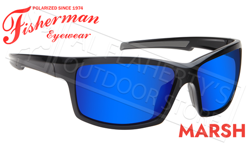 Fisherman Eyewear Marsh Polarized Sunglasses, Shiny Black Frame with Blue Mirror Lens #50680031