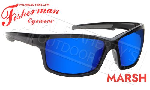 Fisherman Eyewear Marsh Polarized Sunglasses, Shiny Black Frame with Blue Mirror Lens #50680031