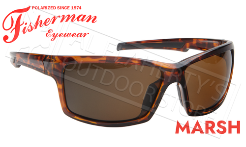 Fisherman Eyewear Marsh Polarized Sunglasses, Shiny Tortoise Frame with Brown Lens #50680202