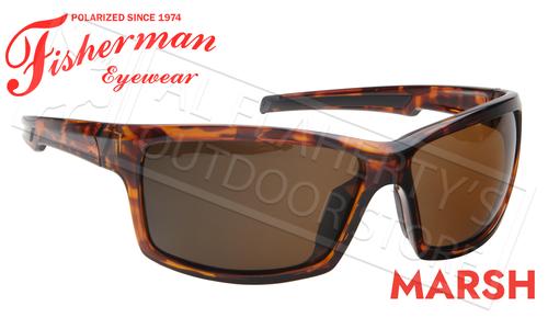 Fisherman Eyewear Marsh Polarized Sunglasses, Shiny Tortoise Frame with Brown Lens #50680202