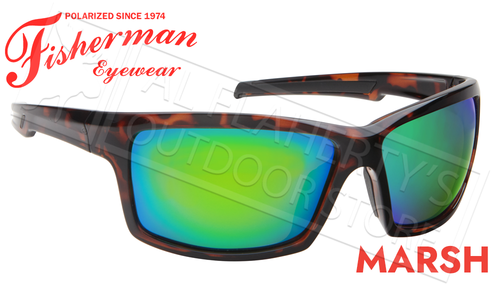 Fisherman Eyewear Marsh Polarized Sunglasses, Shiny Tortoise Frame with Green Mirror Lens #50680262