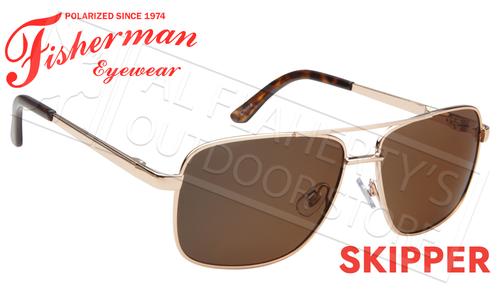 Fisherman Eyewear Skipper Polarized Sunglasses, Gold Frame with Brown Lens #50652202
